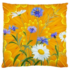 Flowers Daisy Floral Yellow Blue Large Cushion Case (two Sides) by Nexatart