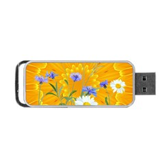 Flowers Daisy Floral Yellow Blue Portable Usb Flash (one Side)