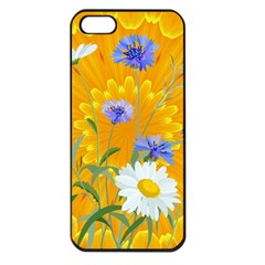Flowers Daisy Floral Yellow Blue Apple Iphone 5 Seamless Case (black)