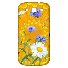 Flowers Daisy Floral Yellow Blue Samsung Galaxy S3 S Iii Classic Hardshell Back Case by Nexatart