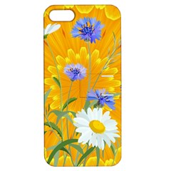 Flowers Daisy Floral Yellow Blue Apple Iphone 5 Hardshell Case With Stand