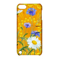 Flowers Daisy Floral Yellow Blue Apple Ipod Touch 5 Hardshell Case With Stand