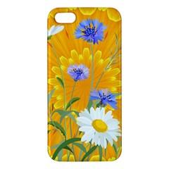 Flowers Daisy Floral Yellow Blue Apple Iphone 5 Premium Hardshell Case by Nexatart