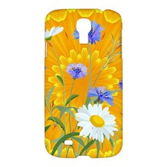 Flowers Daisy Floral Yellow Blue Samsung Galaxy S4 I9500/i9505 Hardshell Case