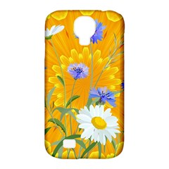 Flowers Daisy Floral Yellow Blue Samsung Galaxy S4 Classic Hardshell Case (pc+silicone)
