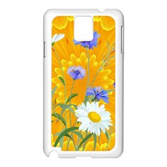Flowers Daisy Floral Yellow Blue Samsung Galaxy Note 3 N9005 Case (white)