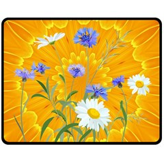 Flowers Daisy Floral Yellow Blue Double Sided Fleece Blanket (medium)