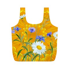 Flowers Daisy Floral Yellow Blue Full Print Recycle Bags (m)