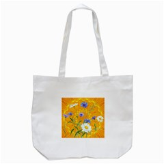Flowers Daisy Floral Yellow Blue Tote Bag (white)