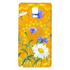 Flowers Daisy Floral Yellow Blue Galaxy Note 4 Back Case