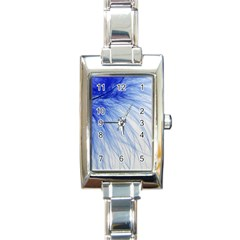 Feather Blue Colored Rectangle Italian Charm Watch