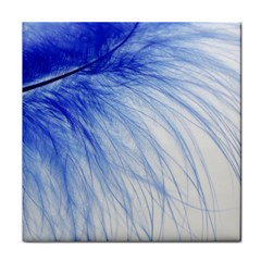 Feather Blue Colored Tile Coasters