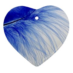 Feather Blue Colored Ornament (heart)