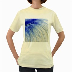 Feather Blue Colored Women s Yellow T Shirt