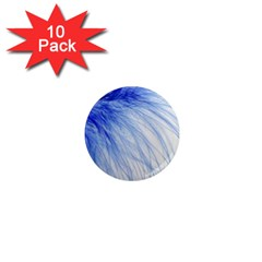 Feather Blue Colored 1  Mini Magnet (10 Pack)