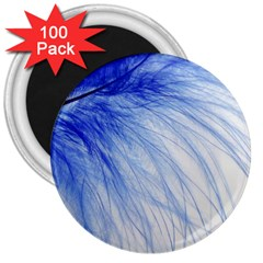 Feather Blue Colored 3  Magnets (100 Pack)