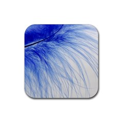 Feather Blue Colored Rubber Square Coaster (4 Pack)