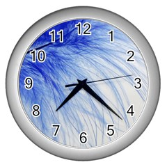 Feather Blue Colored Wall Clocks (silver)