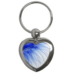 Feather Blue Colored Key Chains (heart)  by Nexatart