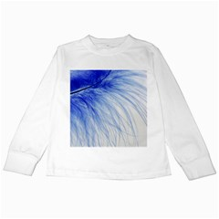 Feather Blue Colored Kids Long Sleeve T Shirts