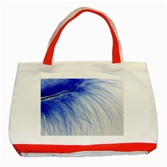 Feather Blue Colored Classic Tote Bag (red)