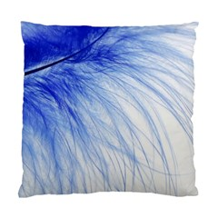 Feather Blue Colored Standard Cushion Case (two Sides) by Nexatart