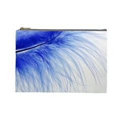 Feather Blue Colored Cosmetic Bag (large)