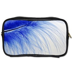 Feather Blue Colored Toiletries Bags 2 Side