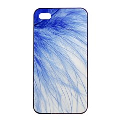 Feather Blue Colored Apple Iphone 4/4s Seamless Case (black) by Nexatart