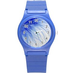 Feather Blue Colored Round Plastic Sport Watch (s) by Nexatart