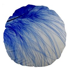 Feather Blue Colored Large 18  Premium Round Cushions