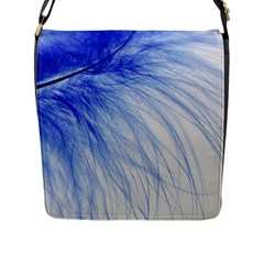 Feather Blue Colored Flap Messenger Bag (l)