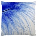 Feather Blue Colored Large Flano Cushion Case (Two Sides) Front