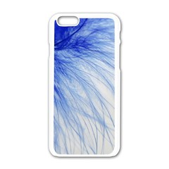 Feather Blue Colored Apple Iphone 6/6s White Enamel Case