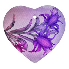 Flowers Flower Purple Flower Heart Ornament (two Sides)