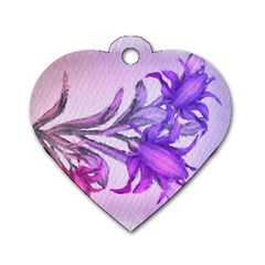 Flowers Flower Purple Flower Dog Tag Heart (two Sides)
