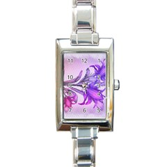 Flowers Flower Purple Flower Rectangle Italian Charm Watch