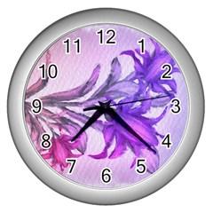 Flowers Flower Purple Flower Wall Clocks (silver)