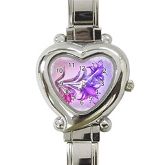 Flowers Flower Purple Flower Heart Italian Charm Watch