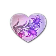 Flowers Flower Purple Flower Rubber Coaster (heart)