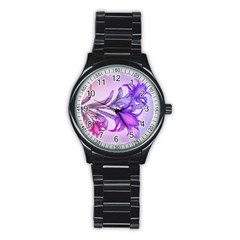 Flowers Flower Purple Flower Stainless Steel Round Watch
