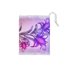 Flowers Flower Purple Flower Drawstring Pouches (small)