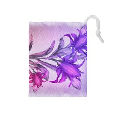 Flowers Flower Purple Flower Drawstring Pouches (medium)