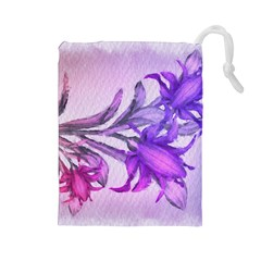 Flowers Flower Purple Flower Drawstring Pouches (large)  by Nexatart