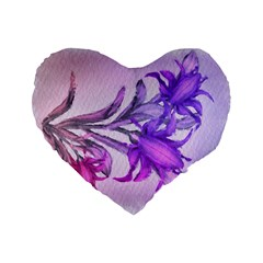 Flowers Flower Purple Flower Standard 16  Premium Flano Heart Shape Cushions