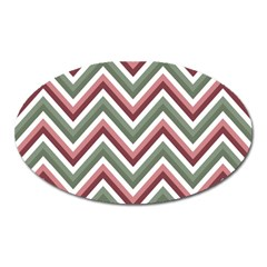 Chevron Blue Pink Oval Magnet