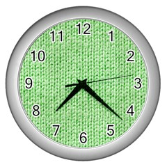 Knittedwoolcolour2 Wall Clocks (silver)  by snowwhitegirl