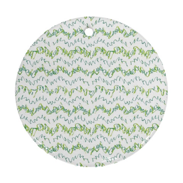Wavy Linear Seamless Pattern Design  Round Ornament (Two Sides)