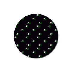Pink Flowers On Black Big Rubber Coaster (round)