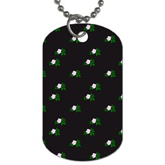 Pink Flowers On Black Big Dog Tag (two Sides)